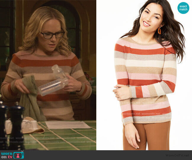 Striped Cashmere Sweater by Charter Club worn by Linda Martin (Rachael Harris) on Lucifer