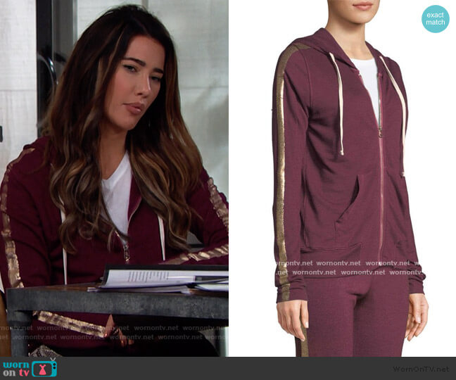 Metallic Side-Stripe Hooded Jacket by Sundry worn by Steffy Forrester (Jacqueline MacInnes Wood) on The Bold & the Beautiful