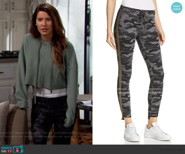 Track Stripe Camo Sweatpants by Sundry worn by Steffy Forrester (Jacqueline MacInnes Wood) on The Bold & the Beautiful