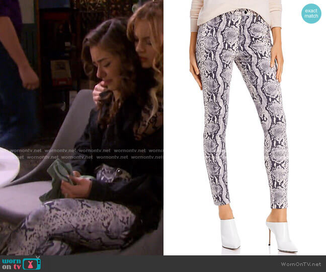 Snake Print Faux Suede Pants by Sunset & Spring worn by Ciara Brady (Victoria Konefal) on Days of our Lives