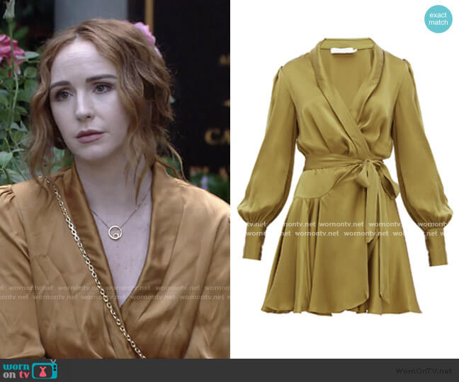 Super Eight Silk Wrap Mini Dress by Zimmermann worn by Mariah Copeland (Camryn Grimes) on The Young & the Restless