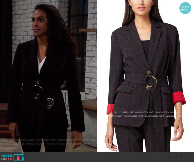 Notch Collar Belted Windowpane Jacket by Tahari worn by Jordan Ashford (Briana Nicole Henry) on General Hospital