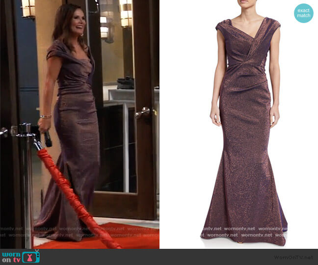 Iridescent Gazar V-Neck Gown by Talbot Runhof worn by Lucy Coe (Lynn Herring) on General Hospital