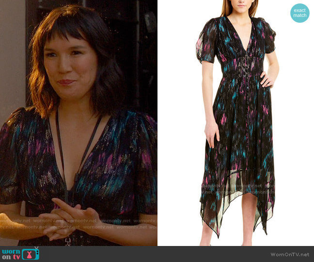 The Kooples Floral-Print Metallic Dress worn by Katie (Zoe Chao) on The High Note