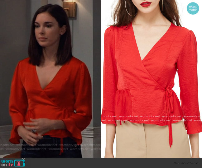 Freya Wrap Blouse by Topshop worn by Willow Tait (Katelyn MacMullen) on General Hospital