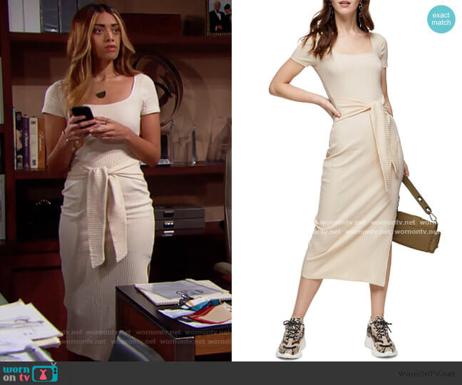 Rib Knit Tie Waist Maxi Dress by Topshop worn by Zoe (Kiara Barnes) on The Bold & the Beautiful