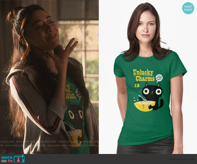 Unlucky Charms by Dino Mike at Red Bubble worn by Ella Lopez (Aimee Garcia) on Lucifer
