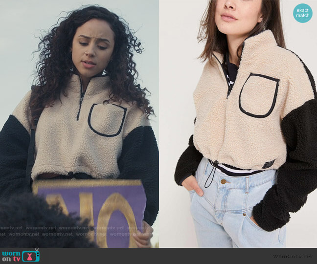 Colorblock Teddy Pullover Top by Urban Outfitters worn by Moe Truax (Kiana Madeira) on Trinkets