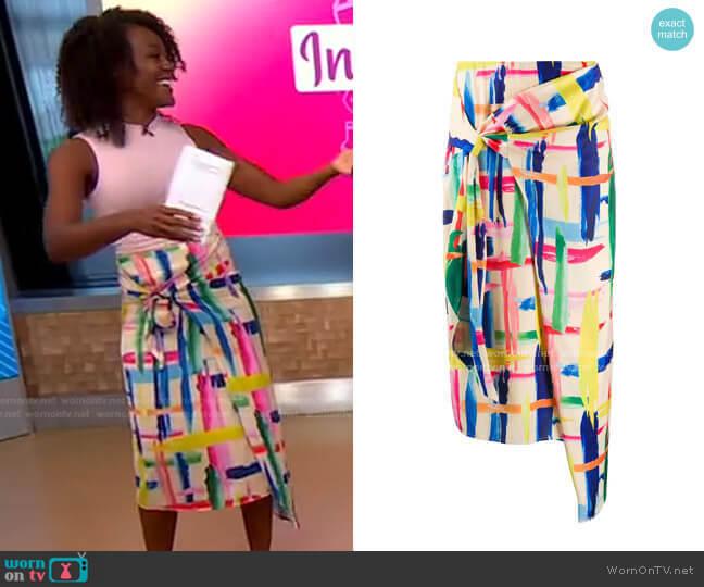 Vavocado Asymmetric Skirt by Essentiel Antwerp worn by Janai Norman  on Good Morning America