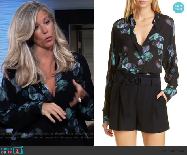 Painted Floral Silk Blouse by Vince worn by Carly Corinthos (Laura Wright) on General Hospital