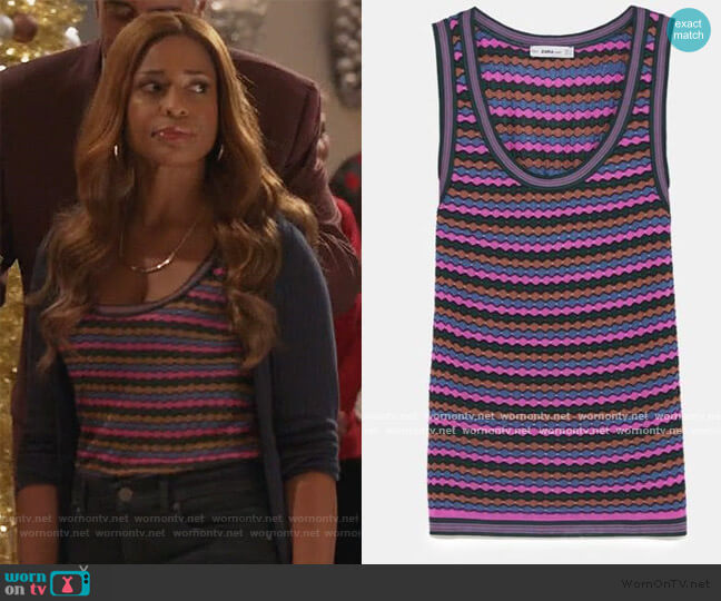 Multicolored stripe knit top by Zara worn by Poppy (Kimrie Lewis) on Single Parents