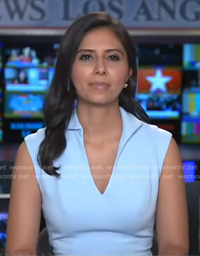 Zohreen Shah's light blue v-neck dress on Good Morning America