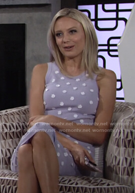 Abby's lilac floral embellished knit dress on The Young and the Restless