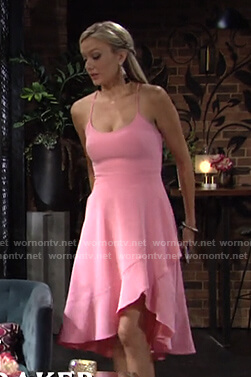 Abby's pink ruffle hem dress on The Young and the Restless