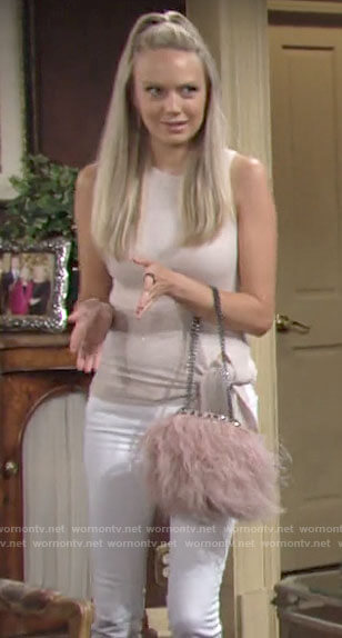 Abby's metallic side tie top and pink feather bag on The Young and the Restless