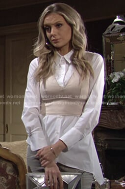 Abby's white asymmetric shirt and cropped satin top on The Young and the Restless