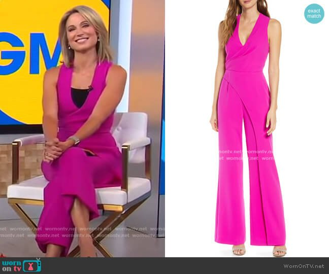 Katerina Faux Wrap Jumpsuit by Adelyn Rae worn by Amy Robach  on Good Morning America