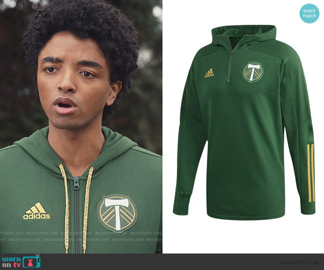 Green Portland Timbers Hoodie Jacket by Adidas worn by Odiseas Georgiadis on Trinkets