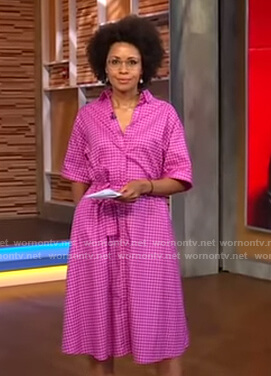 Adrienne's pink gingham check shirtdress on Good Morning America