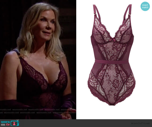 Carmella floral-lace bodysuit by Agent Provocateur worn by Brooke Logan (Katherine Kelly Lang) on The Bold & the Beautiful