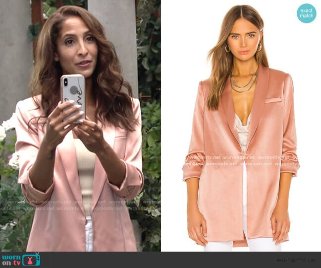 Jace Shawl Collar Oversized Blazer by Alice + Olivia worn by Lily Winters (Christel Khalil) on The Young & the Restless
