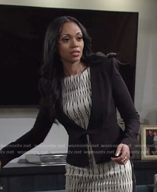 Amanda's black peplum blazer on The Young and the Restless