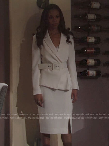 Amanda's white belted blazer on The Young and the Restless