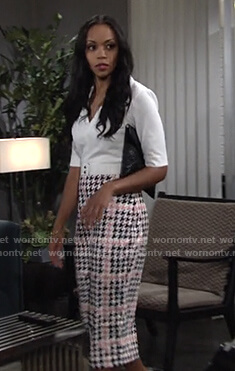 Amanda's houndstooth sheath dress on The Young and the Restless