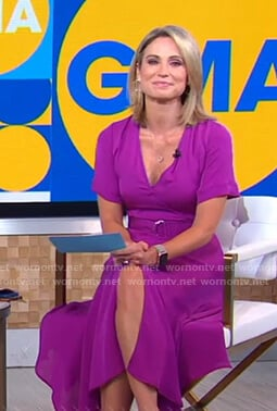 Amy's purple belted midi dress on Good Morning America