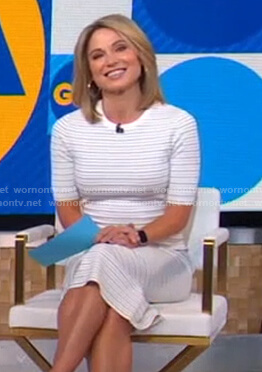 Amy's white striped dress on Good Morning America