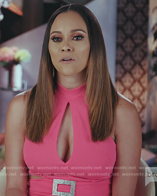 Ashley's pink cutout belted jumpsuit on The Real Housewives of Potomac
