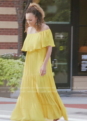 Ashley's yellow off shoulder maxi dress on The Real Housewives of Potomac