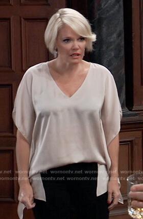 Ava's satin v-neck drape blouse on General Hospital
