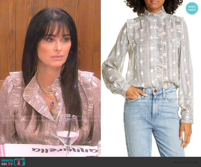 Precious Pleated Ruffle Detail Long Sleeve Blouse by Ba&Sh worn by Kyle Richards  on The Real Housewives of Beverly Hills