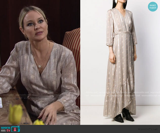 Pisy Asymmetric Wrap Dress by Ba&Sh worn by Sharon Collins (Sharon Case) on The Young & the Restless