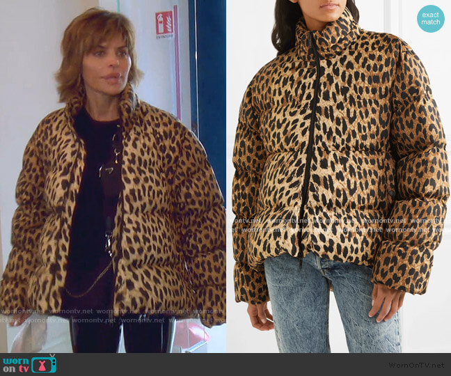 C-Shape Leopard-Print Quilted Shell Jacket by Balenciaga  worn by Lisa Rinna  on The Real Housewives of Beverly Hills