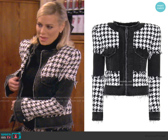 Houndstooth Cotton-Blend Jacket by Balmain worn by Dorit Kemsley  on The Real Housewives of Beverly Hills