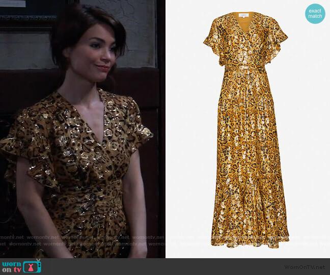 Gemma leopard-print silk-blend maxi dress by Ba&sh worn by Elizabeth Webber (Rebecca Herbst) on General Hospital