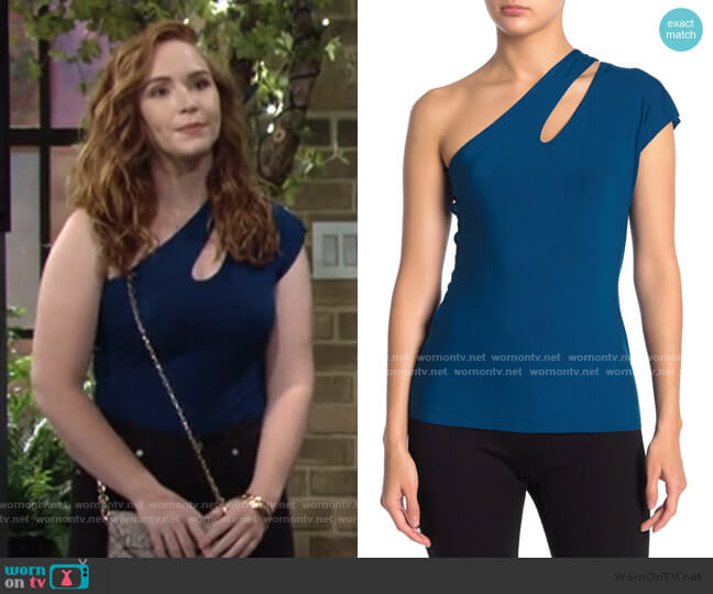 Athena One Shoulder Top by Bailey 44 worn by Mariah Copeland (Camryn Grimes) on The Young & the Restless