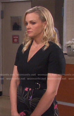 Belle's black floral wrap dress on Days of our Lives
