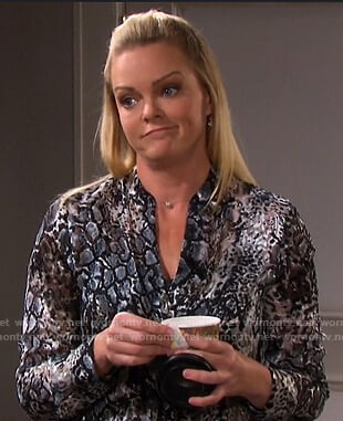 Belle's snake print blouse on Days of our Lives