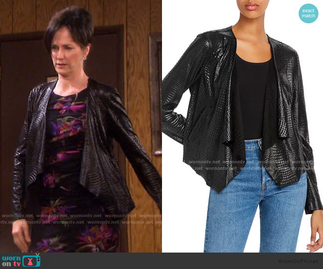 Croc-Pattern Draped Jacket by Blank NYC worn by Eve Donovan (Kassie DePaiva) on Days of our Lives
