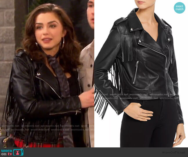 Fringed Faux Leather Moto Jacket by Blank Nyc worn by Ciara Brady (Victoria Konefal) on Days of our Lives