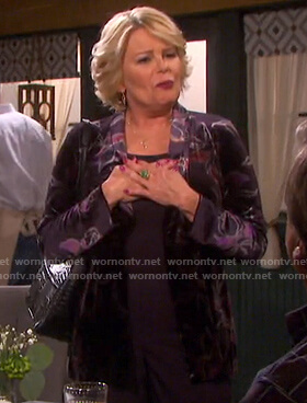 Bonnie's purple floral velvet jacket on Days of our Lives