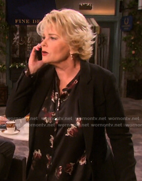 Bonnie's black floral blouse on Days of our Lives