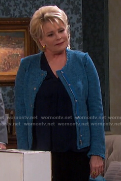 Bonnie's blue tweed jacket on Days of our Lives