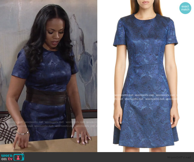 Dargy Jacquard Short Sleeve A-Line Dress by Boss worn by Amanda Sinclair (Mishael Morgan) on The Young & the Restless