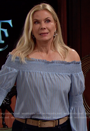 Brooke's blue off shoulder top on The Bold and the Beautiful