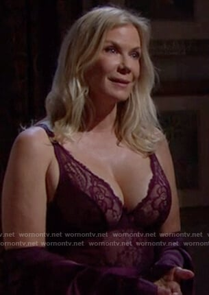 Brooke's burgundy lace bodysuit on The Bold and the Beautiful