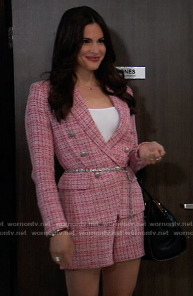 Brook Lynn's pink tweed blazer and shorts on General Hospital